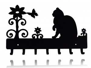 "Black key holder, hanger for keys ""CAT AND FLOWERS"""