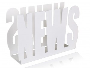 "White, metal newspaper holder, stand for newspaper with inscription: ""NEWS"""