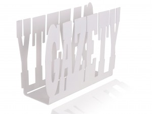 "White, metal newspaper holder, stand for newspaper with inscription: ""GAZETY"""