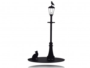 "Black paper towel holder, stand for paper towels ""CAT AND BIRD"""